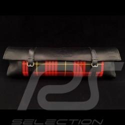 Original Porsche Tartan Tasche mit Riemen schottischer stoff / Schwarzes Recaro Leder  - Erste-Hilfe-Kasten enthalten