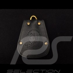 Porsche key pouch black leather Reutter retractable gold plated chain