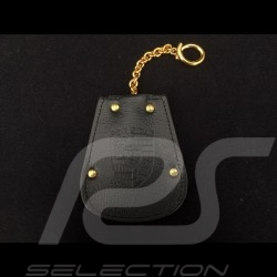 Porsche key pouch black leather Reutter retractable gold plated chain