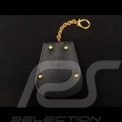 Porte-clés Porsche etui cuir noir Reutter chainette plaqué or rétractable key pouch Schlüsseltäschchen