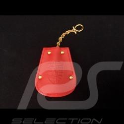 Porte-clés Porsche etui cuir rouge Reutter chainette plaqué or rétractable key pouch Schlüsseltäschchen