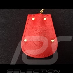 Porsche key pouch red leather Reutter retractable gold plated chain