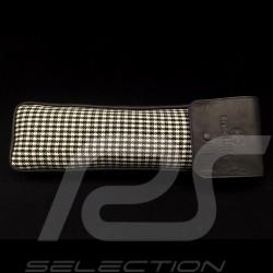 Original Porsche Pepita Hahnentrittstoff / Schwarzes Recaro Leder Tasche mit Klappe - Erste-Hilfe-Kasten enthalten