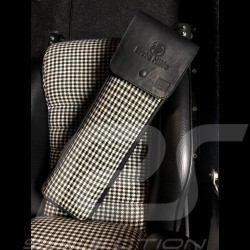 Original Porsche Pepita Houndstooth fabric / Black Recaro leather bag with flap - first aid kit included