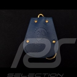 Porte-clés Porsche etui cuir bleu Reutter chainette plaqué or rétractable key pouch Schlüsseltäschchen