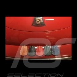Porsche key pouch blue leather Reutter retractable gold plated chain