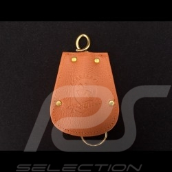 Porsche key pouch brown leather Reutter retractable gold plated chain