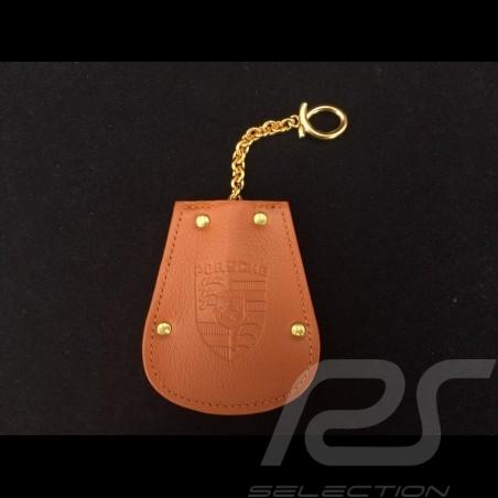 Porte-clés Porsche etui cuir marron Reutter chainette plaqué or rétractable key pouch Schlüsseltäschchen