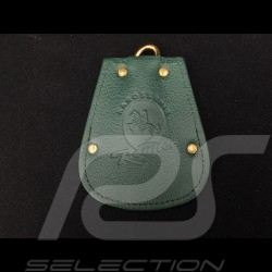 Porsche key pouch green leather Reutter retractable gold plated chain