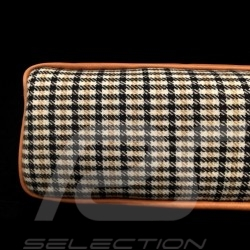 Original Porsche Pepita brown Houndstooth fabric / Brown Recaro leather bag with flap - first aid kit included