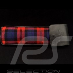 Etui tissu original Porsche Tartan écossais / Cuir Recaro noir avec rabat - trousse de secours incluse bag tasche