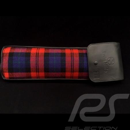 Original Porsche Tartan plaid fabric / Black Recaro leather bag with flap - first aid kit included
