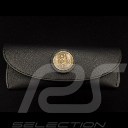 Glasses case black leather Reutter for Porsche 356 magnetic with metal saint christophe medallion