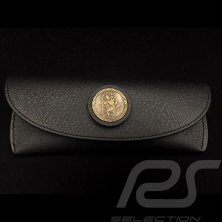 Etui à lunettes Glasses case Brillenetui cuir noir Reutter pour Porsche 356 magnétique avec médaillon Saint Christophe en métal