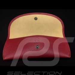 Glasses case red leather Reutter for Porsche 356 magnetic with metal saint christophe medallion