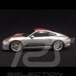 Porsche 911 R type 991 2016 argent / bandes rouges 1/12 Minichamps 125066321