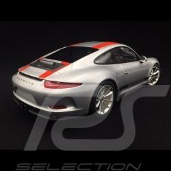 Porsche 911 R type 991 2016 silver / red stripes 1/12 Minichamps 125066321