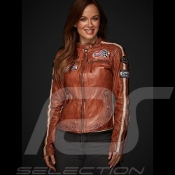 Veste cuir Gulf Dakota Super Sport Racing Team Classic pilote Brun Jacket Jacke leather Leder femme woman Damen