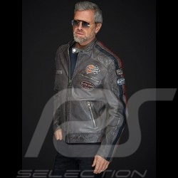 Veste cuir Gulf Dakota Super Sport Racing Team Classic pilote Gris  anthracite Jacket Jacke homme men herren
