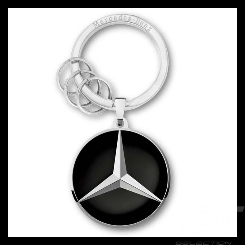 Stainless Steel Mercedes-Benz,Keyring,Los Angeles,Silver Colored//Black