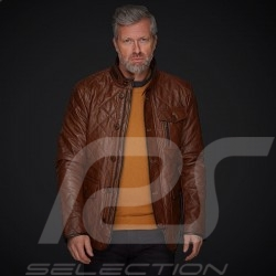 Leather jacket Gentleman driver Miles Quilted Brown - men