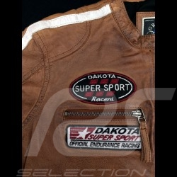 Gulf leather jacket Dakota Super Sport Racing Team Classic driver Brown - women
