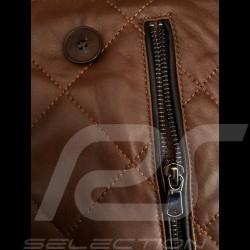 Leather jacket Gentleman driver Miles Quilted Brown - men