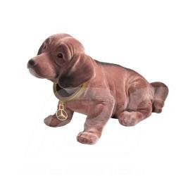 Peluche plush Mercedes chien dog avec tête articulée plastique marron  with articulated head plastic brown mit gelenkkopf kunsts