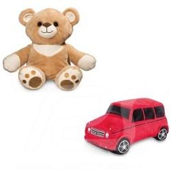 Peluche teddy bear Teddybär Mercedes ourson Carl réversible reversible reversibler classe G polyester beige / rouge G-class poly