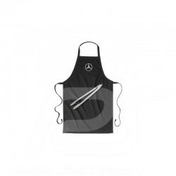 Ensemble barbecue Mercedes tablier coton noir et pince acier set with black cotton apron and steel tong grillset mit schwarzer b