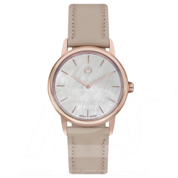 Montre Mercedes femme watch woman damenuhr Basic edition bracelet cuir beige cadran or rose strap pink gold dial armband rotgold
