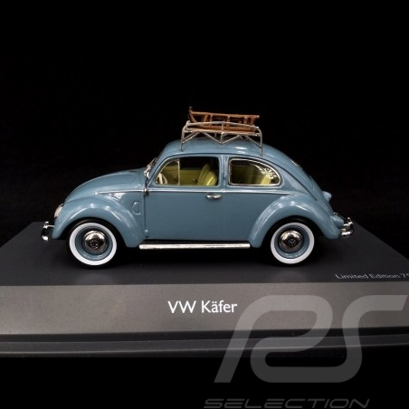VW Beetle Type 1 Split 1951 Blue With roof rack and sleds 1/43 Schuco 450270900