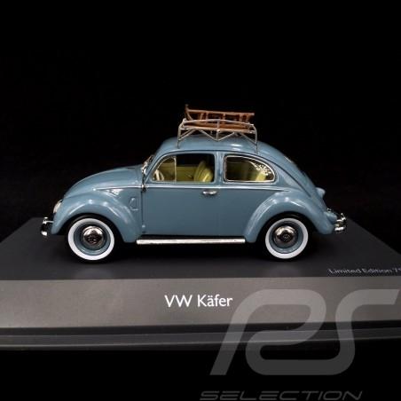 VW Cox Type 1 Split 1951 Bleu Coccinelle avec luges 1/43 Schuco 450270900 Beetle Kafer blue blau sled schlitte