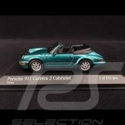 Porsche 964 Carrera 2 Cabriolet vert bleu green blue grün blau 1990 1/43 Minichamps 430067332
