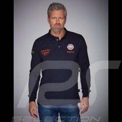 Gulf Racing Poloshirt lange Arme Laguna Seca Corkscrew Marineblau / orange - Herren
