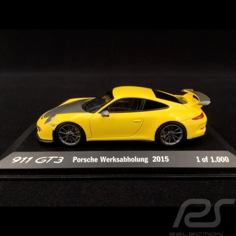 Porsche 991 GT3 Enlèvement à l'usine factory setting werkshabholung 2015 jaune 1/43 Minichamps WAX20130022