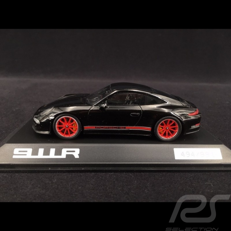 Porsche 911 R typ 991 2016 schwarz / schwarze und rote Streifen 1/43 Spark WAX02020054