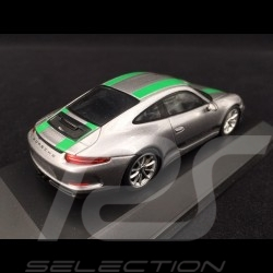 Porsche 911 R 2016 metallic grey / green stripes 1/43 SPARK WAP0201460G