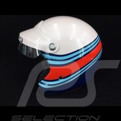 Casque racing blanc métallisé / bleu / rouge helmet helm