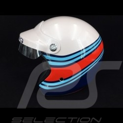 Helmet racing metallic white / blue / red
