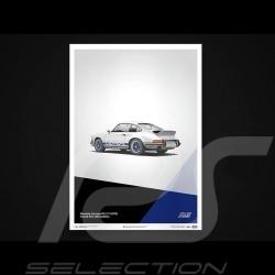 Porsche Poster 911 Carrera RS 1973 Grand Prix white / blue