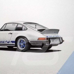 Porsche Poster Affiche Plakat 911 Carrera RS 1973 Blanc white weiß Grand Prix / bleu blue blau Unique & Limited 16002