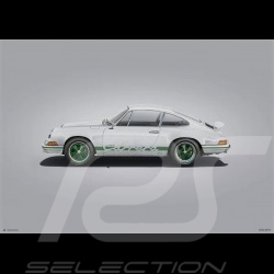 Porsche Poster 911 Carrera RS 1973 Blanche White Weiß Colors of Speed