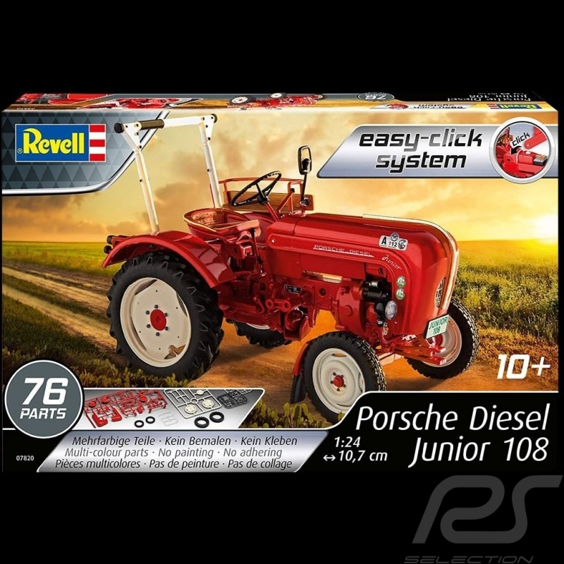 Kit glue-free mounting Porsche Diesel Tractor Junior 108 1957 red 1/24 Revell 07820