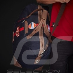 Sac de voyage Travel bag Reisetasche Gulf Steve McQueen Le Mans Bleu marine Coton / cuir