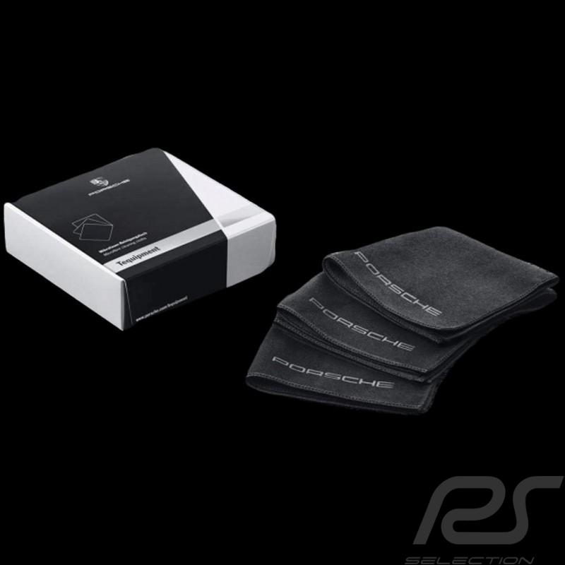 Set de 3 chiffons de nettoyage en microfibre Porsche Car Care Tequipment 4400195  microfiber cleaning cloths Mikrofaser-Reinigun
