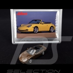 Porsche 911 Carrera Cabriolet type 996 1997 marron avec carte métalliques 1/87 Schuco 452693200