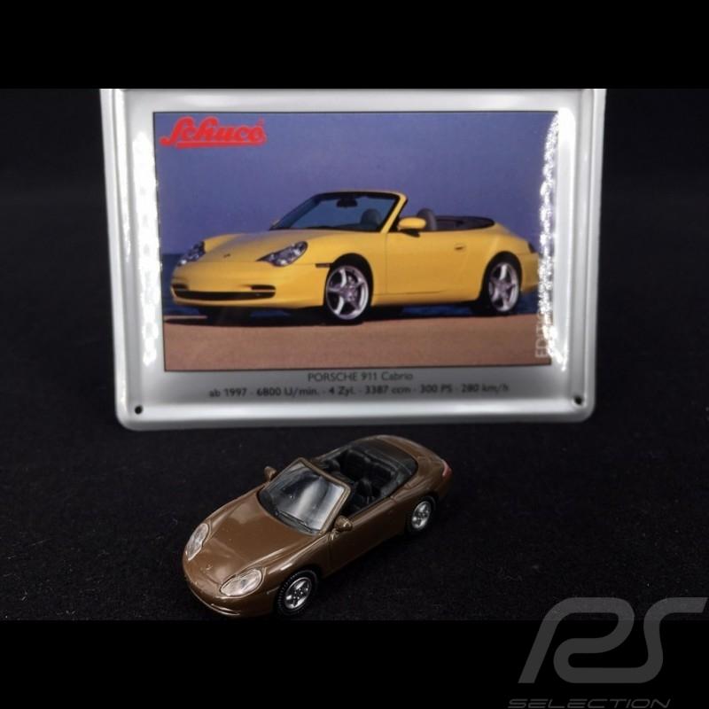 Porsche 911 Carrera Cabriolet typ 996 1997 braun mit metallischer Karte 1/87 Schuco 452693200