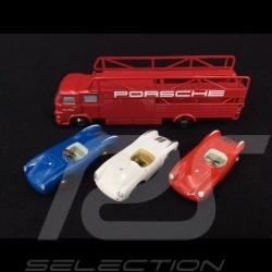 Set Porsche 550 Spyder et transporteur MAN 415 1/90 Schuco 450589600 trailer LKW