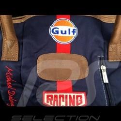 Sac de voyage Travel bag Reisetasche Gulf Steve McQueen Le Mans Medium Bleu marine Coton / cuir